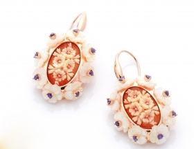 Cameo Italian pendant earrings silver rose gold cameo hand-engraved O73