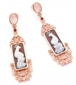 Cameo Italian pendant earrings silver rose gold cameo hand-engraved O84