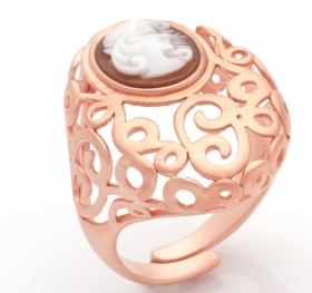Cameo Italiano silver ring rose gold cameo hand-engraved A91