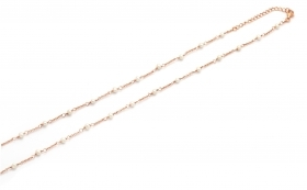 Cameo Italian silver necklace, pink gold with beaded CCP45-R