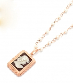 Cameo Italian silver necklace rose gold cameo hand-engraved