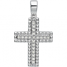 Bliss cross pendant Man white gold 1 of the Crosses 8kt diamonds 0,1 ct 20070878