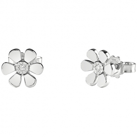 Bliss earrings button flower-the First Love white gold diamonds 0.016 ct 20077806