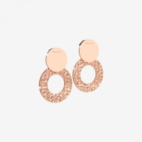 Rebecca earrings bronze rose gold circle pendant hammered r-zero BRZOBR63