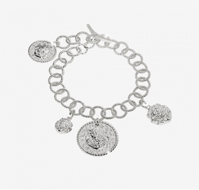 Rebecca bracelet in sterling silver with lion's head in bas-relief SLIBAA03