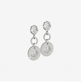 Rebecca small Earrings in silver with lion heads SLIOAA08