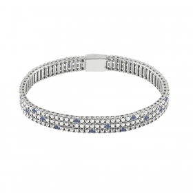 Bliss tennis bracelet women's silver cubic zirconia white blue 20077599