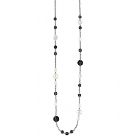 Bliss necklace oceania 100cm silver hematite pearls zircons 20077930