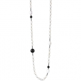 Bliss necklace 95 reach 10 cm silver hematite pearls zircons 20077931