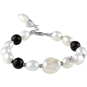 Bliss bracelet women's hematite beads in silver 20077933