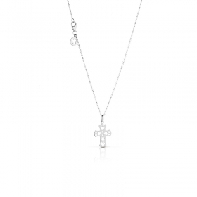 Giannotti gold necklace with cross pendant gold 750 white NKT211B