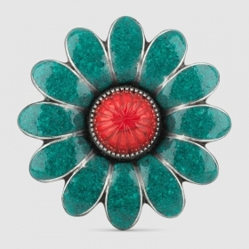 Gucci Ring with enameled flowe