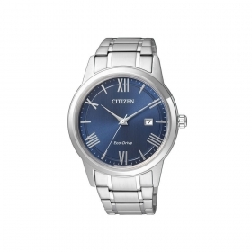 Citizen watch classic stainless steel date display blue dial AW1231-58L