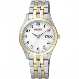 Vagary watch classic two-tone steel white dial date IH3-039-11