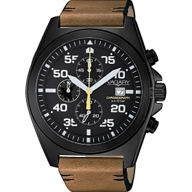 Vagary watch chrono black case / brown strap IA9-748-50
