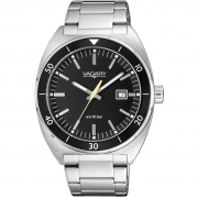 Vagary mens watch stainless steel with date black dial IB7-511-51