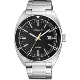 Vagary mens watch stainless steel with date black dial IB7-5
