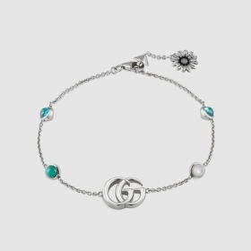 Gucci Bracelet with flower and Double G 18 cm YBA527393001