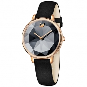 Swarovski Watch, Crystal Lake, leather Strap, black, gold tone pink 5416009