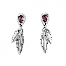 Uno de 50 earrings alloy feather swarovski MIRAME PEN0597MORMTL0U