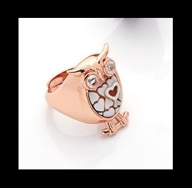 Cameo Italian sterling silver ring rose gold owl A69