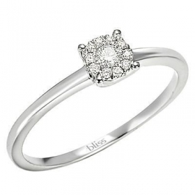 Bliss ring white gold solitaire diamond 0,1 ct coll. Caresse 20061662 mis.13