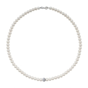 Bliss necklace gold white pearls river is 4.5-5 Paradise 20066760 45cm
