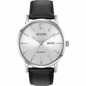 Bulova mens watch automatic steel case leather strap 96c130