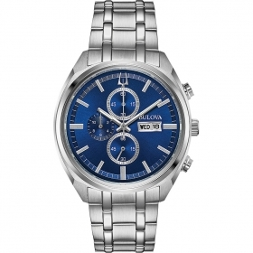 Bulova mens watch chrono stainless steel blue dial 96c136