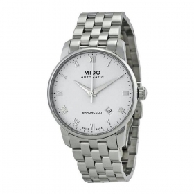 Mido man watch automatic baroncelli stainless steel white di