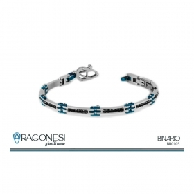Aragonese stainless Steel Bracelet with Black Stones and Treatments in Ip blue BR0103