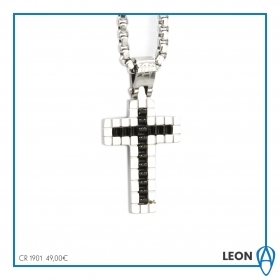 NECKLACE ARAGONESE WITH CROSS PENDANT BLACK GREY CR1901