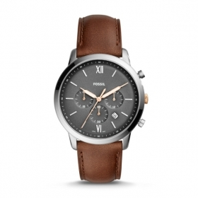 FOSSIL Chronograph Neutral leather strap with light brown FS5408