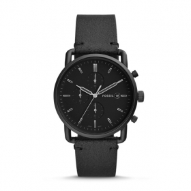 FOSSIL Chronograph Commuter with black leather strap FS5504