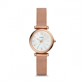 FOSSIL Watch Carlie Mini three-hand steel tone rose gold ES4433