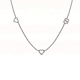 GUCCI necklace woman silver hearts BOULE YBB390036001