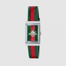 Gucci watch women's g-frame 21x34 mm weft web and the red YA147408