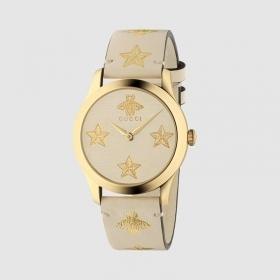 Gucci watch unisex G-Timeless 38mm leather strap case gold pvd YA1264096