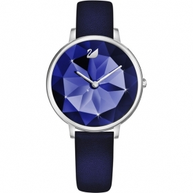 Swarovski Watch Crystal Lake leather Strap blue silver tone 5416006