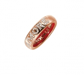 Pasquale Bruni ring pink gold and enamel with diamond love 14994r