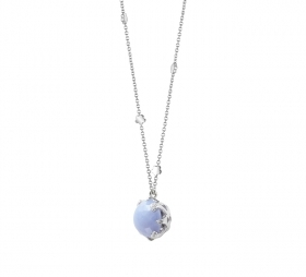 Pasquale Bruni necklace, white gold diamond chalcedony 15538b