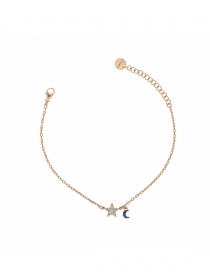 Rue des mille bracelet double subject cubic zirconia star moon BRZ, 201-C5