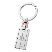 Zancan Keychain in rectangular steel with sapphires white EHP036