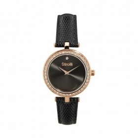 Stroili watch steel case pink rhinestone strap black leather 1661127