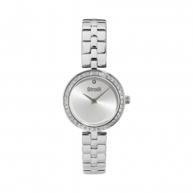 Stroili Watch case steel rhinestone strap steel dial silver 1661129