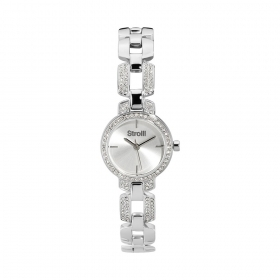 Stroili case and strap in stainless steel rhinestones silver dial 1661134