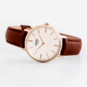 Henry london watch 34mm strap brown leather case pink 34 mm