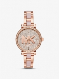 MICHAEL KORS Watch Sofie in the shade rose gold and acetate with pave MK4336