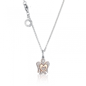 Roberto Giannotti NECKLACE ANGEL SILVER PINK HEART cubic ZIRCONIA WHITE GIA334