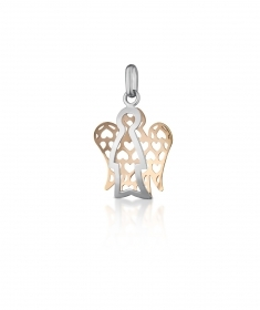 "Roberto Giannotti PENDANT ANGEL ""SMALL"" GOLD AND WHITE WINGS ROSE GOLD NKT280"